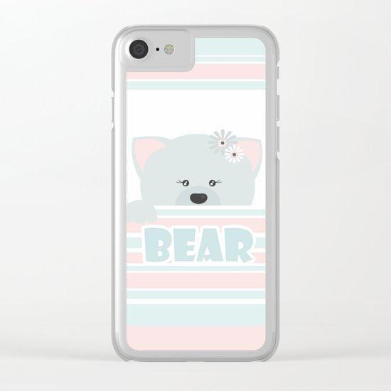 A curious bear . Clear iPhone Case