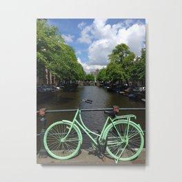 Amsterdam Green Bike - Greg Katz Metal Print