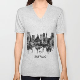 Buffalo New York Skyline BW Unisex V-Neck