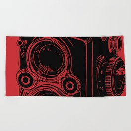 Vintage Rolleiflex (Red/ Black) Beach Towel