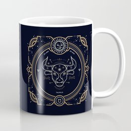 Taurus Zodiac Gold White Black Background Coffee Mug