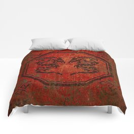 Distressed Dueling Dragons in Octagon Frame With Chinese Dragon Characters Comforters