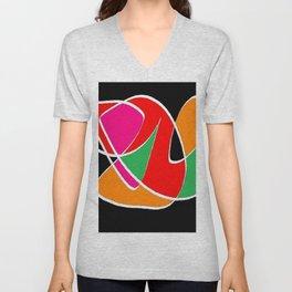 Multicolor black Unisex V-Neck