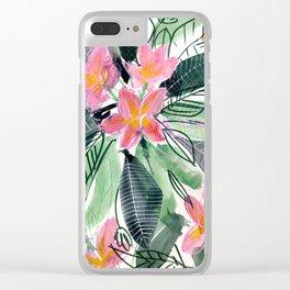 Tropical Flowers: Frangipani Clear iPhone Case