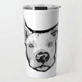 RESCUE ME Pit Bull Pitbull Dog Pop Art black and White Painting by LEA Travel Mug