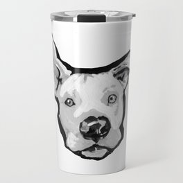 RESCUE ME Pit Bull Pitbull Dog Pop Art black and White Painting by LEA Travel Mug