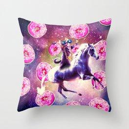 Thug Space Cat On Unicorn - Donut Throw Pillow
