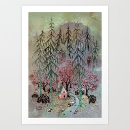 A little house in the woods Art Print