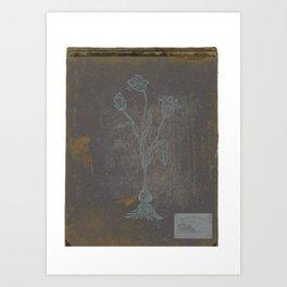 A vintage flower on an antique notebook cover with handwritten text - Botanical Art Print Art Print Art Print