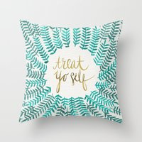 calligraphy Throw Pillows featuring Treat Yo Self – Gold & Turquoise by Cat Coquillette