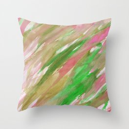 Pink green brown watercolor hand painted brushstrokes Throw Pillow