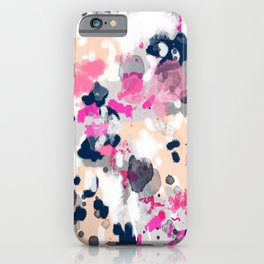 Nico - Abstract painting in modern fresh colors navy, mint, pink, cream, white, and gold iPhone Case
