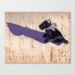 Vintage Fabric Stuffed Scottish Terrier in Gouache Canvas Print