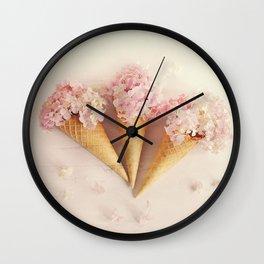 fresh flowers in ice cream cone Wall Clock