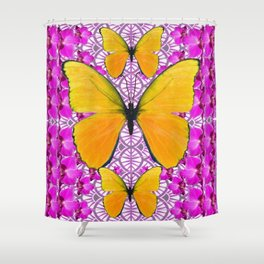 FUCHSIA COLORED  ORCHIDS &  YELLOW  BUTTERFLY FLORAL Shower Curtain