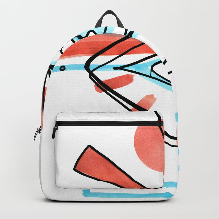 Abstract Open Eye Red And Blue Line Drawing Backpack By Elarkin