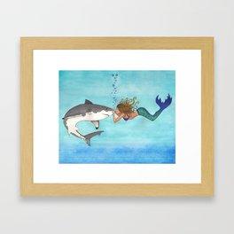The Shark and the Mermaid Framed Art Print