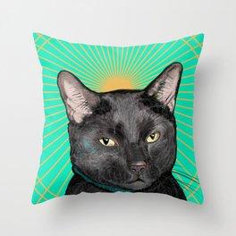 Radiant Sun Cat Throw Pillow