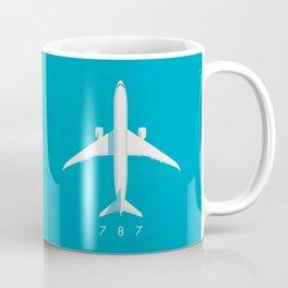 787 Passenger Jet Airliner Aircraft - Cyan Coffee Mug
