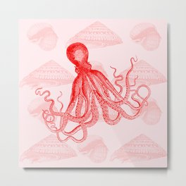 Octopus SeaShells Salmon Color Design Metal Print