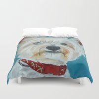 westie Duvet Covers featuring Jesse the Beautiful Westie by Barking Dog Creations Studio