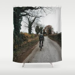 Winter road cycling Shower Curtain