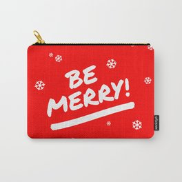 Bright Red Be Merry Christmas Snowflakes Carry-All Pouch