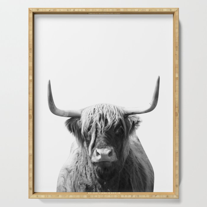 Highland cow | Black and White Photo Serving Tray
