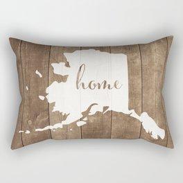 Alaska is Home - White on Wood Rectangular Pillow