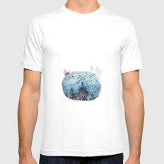 BRIDGES AND BALLOONS Mens Fitted Tee White MEDIUM