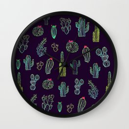 Dark Watercolour Cactus Wall Clock