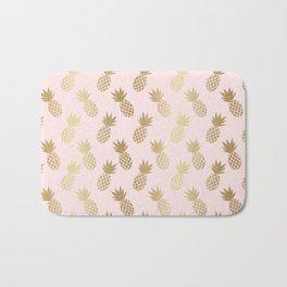 Pink & Gold Pineapples Bath Mat
