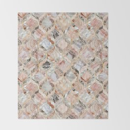 Rosy Marble Moroccan Tile Pattern Throw Blanket