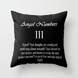 angel number 111 Black & White Affirmation Throw Pillow