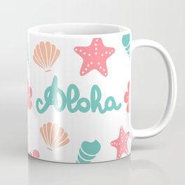 summer pattern background with hand drawn lettering aloha word, seashells, starfishes and flowers Coffee Mug