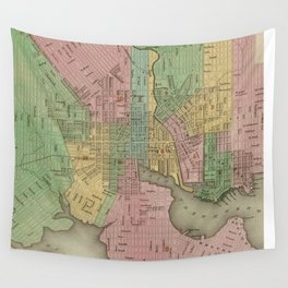 Vintage Map of Baltimore Maryland (1838) Wall Tapestry