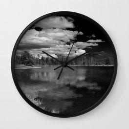 Sprague Lake under Clouds Wall Clock