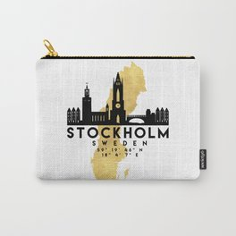 STOCKHOLM SWEDEN SILHOUETTE SKYLINE MAP ART Carry-All Pouch