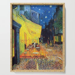Vincent Van Gogh - Cafe Terrace at Night (new color edit) Serving Tray
