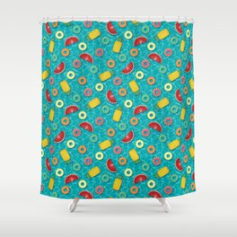 Fruit Salad Pool Floats Pattern – Turquoise Shower Curtain