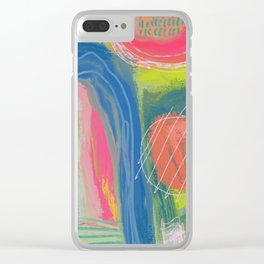 Shapes and Layers no.27 - Abstract Painting gouache and pastels Clear iPhone Case