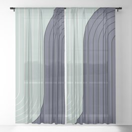 Two Tone Line Curvature XXII  Sheer Curtain