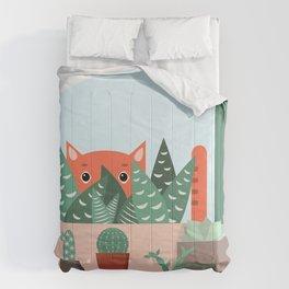 Cat and succulents No1 Comforters