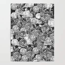 Vintage Roses Black And White Poster