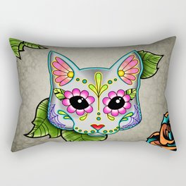 Grey Cat - Day of the Dead Sugar Skull Kitty Rectangular Pillow