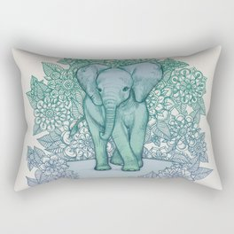 Emerald Elephant in the Lilac Evening Rectangular Pillow