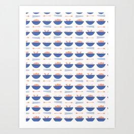 Asian Food Soup Bowl Vector Pattern Art Print