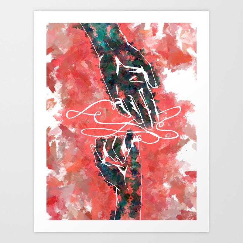 Akai Ito Red String Of Fate Art Print By Davidf Society6