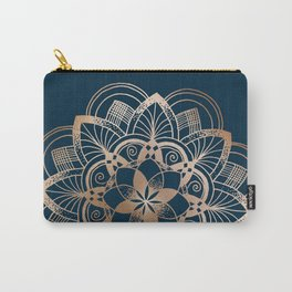 Lotus metal mandala on blue Carry-All Pouch