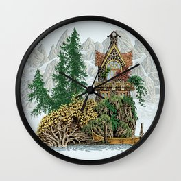 MY ISLAND RETREAT BEYOND MOUNT SHUKSAN Wall Clock